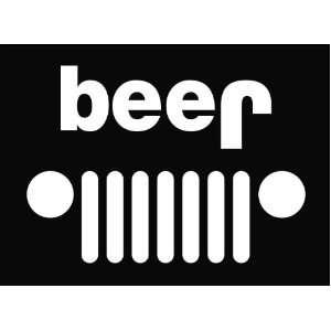 Jeep Funny beer Die Cut Vinyl Decal Sticker 6 White