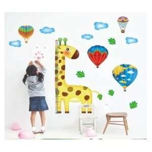 Giraffe Hot Air Balloons Height Growth Chart Measures up to 170cm Wall
