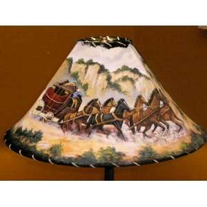 20 Painted Leather Lamp Shade  Stage Coach Home Improvement