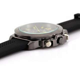 High Quality Mens Quartz Wrist Watch Alloy Shell Large Dial Yellow