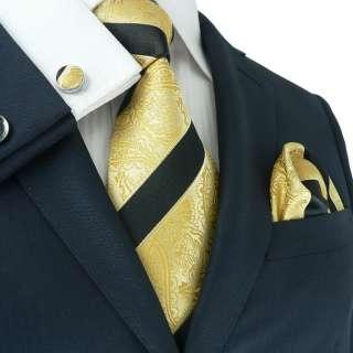 LANDISUN 38G GOLDEN BLACK SILK TIE SETTIE+HANKY+CUFFS