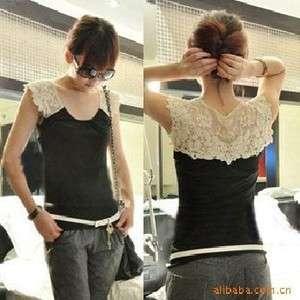 New Women/Girls lace shoulder tank top/Sleeveless Tshirt/vest