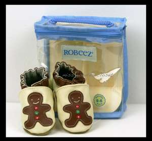 NEW Girl Boy ROBEEZ Gingerbread Man Leather Soft Sole Crib Shoes 0 6