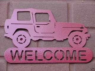 JEEP 4X4 WELCOME SIGN HOME DECOR METAL WHEELER ORV SHOP