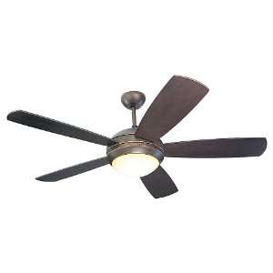 Discus Collection Matte Black 52 Ceiling Fan with Light Kit 5DI52BKD