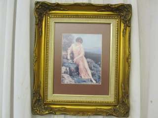 Antique Gesso and Wood Gold Gilt Frame w Matted Print Victorian Style
