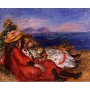Oil Painting Two Little Girls on the Beach Pierre Auguste Renoir Han