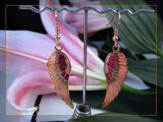14k gold plated enamel pink angel wing dangle earrings 4330