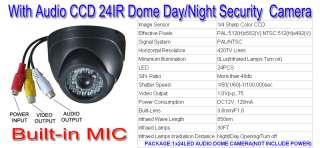 IR AUDIO CCD CCTV Dome Security Camera wide angle lens