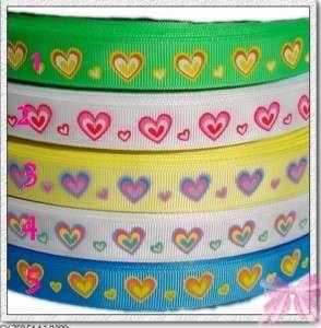 4Y 5/8valentine heart grosgrain ribbon pink lemon U PK
