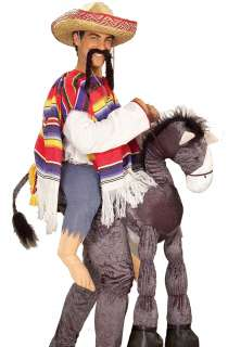 Funny Mens Mexican Guy Riding Donkey Adult Halloween Fancy Dress