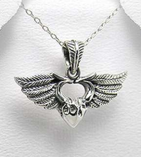 Silver Angel Wing Sacred Heart Necklace Harley Jewelry