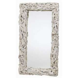 Distressed White Driftwood Art Deco Mirror