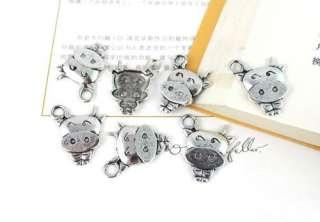 12pcs Tibetan Silver Cute Cattle Charms