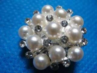 10 Sparkling Clear Crystal Rhinestone Pearl Button #A77