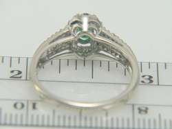 14K White Gold Oval Cut Emerald & Diamond Estate Ring