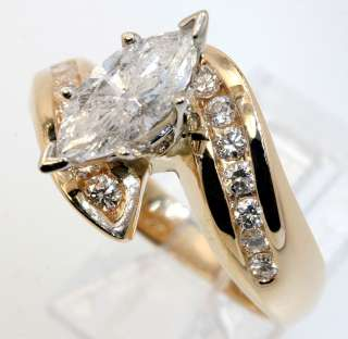 LOVELY 1.85CT MARQUISE & ROUND DIAMOND ENGAGEMENT RING 14K YELLOW GOLD
