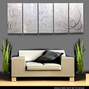 Modern Metal Abstract Wall Art Painting Sculpture White Silver Silent