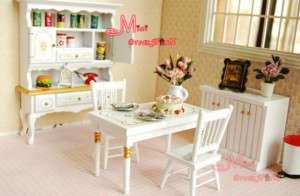 12 Dollhouse Miniature White Dinner Cabinet Table Set