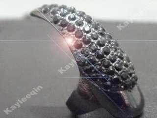 False Nail Black Crystal Claw Paw Talon Finger RING New