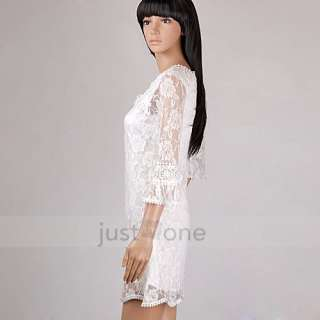 Lady Girl White Lace Flower Neck Crochet Mini Dress / Long Tops