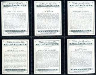 Tobacco Card Set, WD & HO Wills, FAMOUS GOLFERS, Golf,Hagen etc, 1930