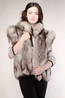 SILVER FOX FUR VEST Vtg Gray 80s Mink Coat Jacket Cape Stole Raccoon