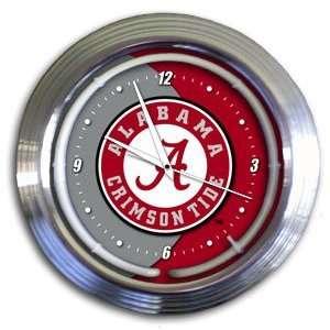 Alabama Crimson Tide College 14 Chrome Neon Clock (NEW