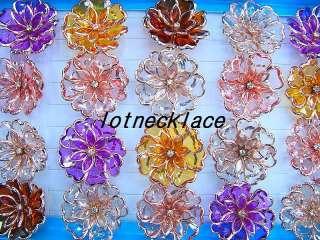 wholesale 20pcs over size flower rhinestone resin rings
