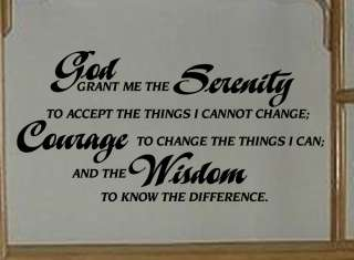 Serenity Prayer Removable Vinyl Wall Art Lettering Decal Quote