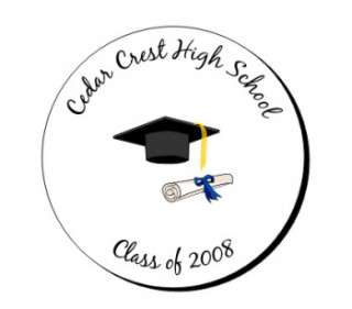 120 Personalized Graduation Round Labels Seals Stickers