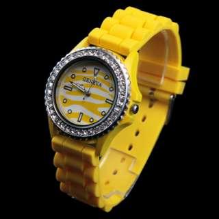 Fashion Quartz Ladies Womens Silicone Band Crystal Jelly Wristwatch