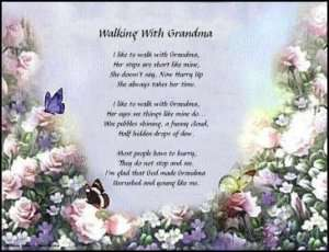 GREAT Walking With Grandma Poem Print gift 4 Grandma