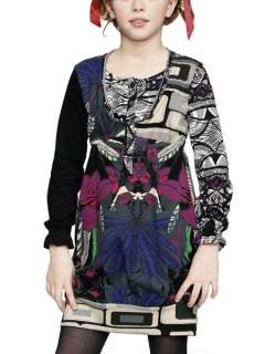 Desigual Girls Black Floral Print Knit Goma Dress Sizes 5 10