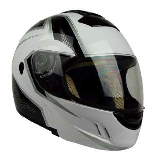 PGR MEGA White Black Flip Up Modular DOT APPROVED Motorcycle Full Face
