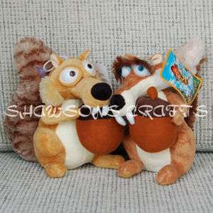 ICE AGE 3 SQUIRRELS 7 SCRAT SCRATTE PAIR PLUSH DOLL