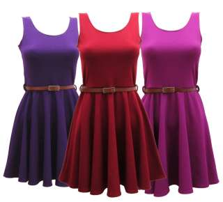WOMENS LADIES BELTED SKATER DRESS SIZE 8 10 12 14