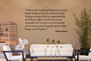 BELIEVE MARILYN MONROE QUOTE VINYL DECAL STICKER ART