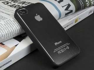 E956 Deluxe iPhone 4 4s Black Aluminum Plactic Hard Case Cover +Screen