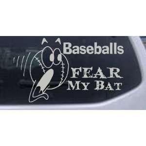 Silver 34in X 19.6in    Baseballs Fear My Bat Sports Car Window Wall
