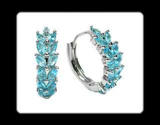 Oval Cut Blue Aquamarine Topaz White Gold GP Earrings