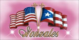 US PUERTO RICAN FLAG DECAL BUMPER STICKER NAME XL 4x8