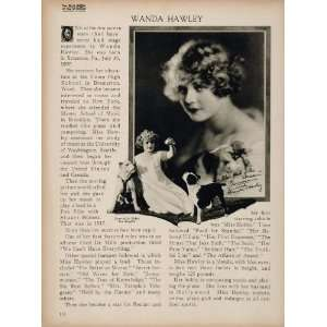 1923 Wanda Hawley Silent Film Actress Biography Print