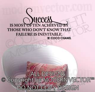Quote Vinyl Wall Decal Lettering SUCCESS Inspirational home decor