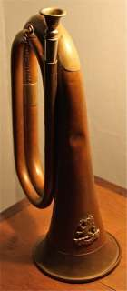 an original kumaoni regiment bugle which has seen a bit of action and