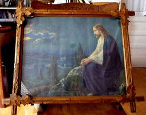 Rare Atkinson Fox Signed Jesus Print in Tramp Art Frame