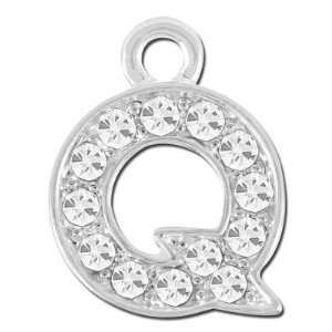 com 11mm Rhinestone Alphabet Letter Charm   Q Arts, Crafts & Sewing