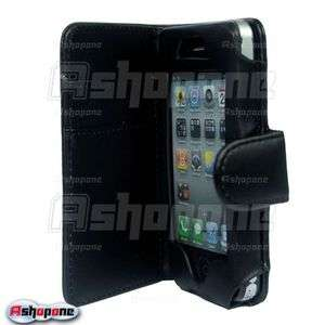 Black Wallet Flip Leather Case Cover For iPhone 4 4G