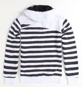 Volcom Getta Sherpa Black/White Striped Zip Hoodie Sweatshirt Jacket
