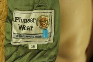 Vintage Pioneer Wear Tan Corduroy Western Style 3 Button Suit Jacket